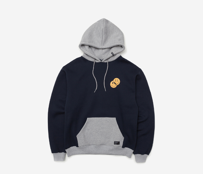SMILEY HOODIE - NAVY brownbreath