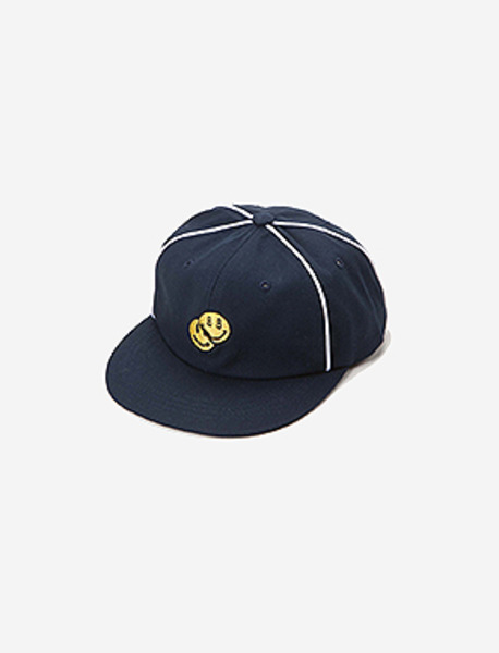 SMILEY 6PANNEL CAP - NAVY brownbreath