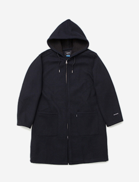 B HOOD COAT - NAVY brownbreath