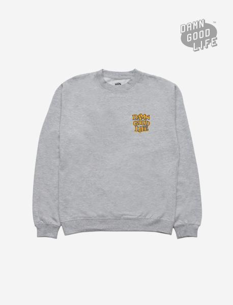DAMNGOODLIFE CREWNECK - GREY brownbreath