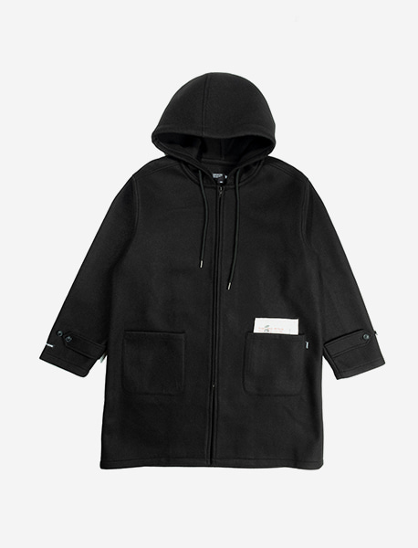 MIND HOOD COAT - BLACK brownbreath