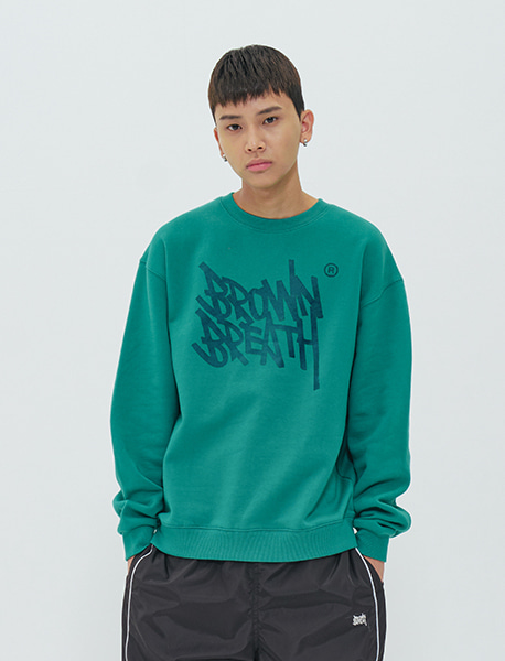 TAGGING CREWNECK - BLUEGREEN brownbreath