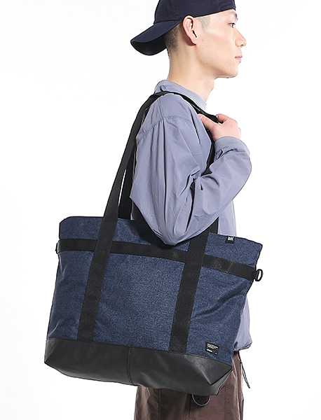CIVITAS WIDE TOTE BAG - NAVY brownbreath
